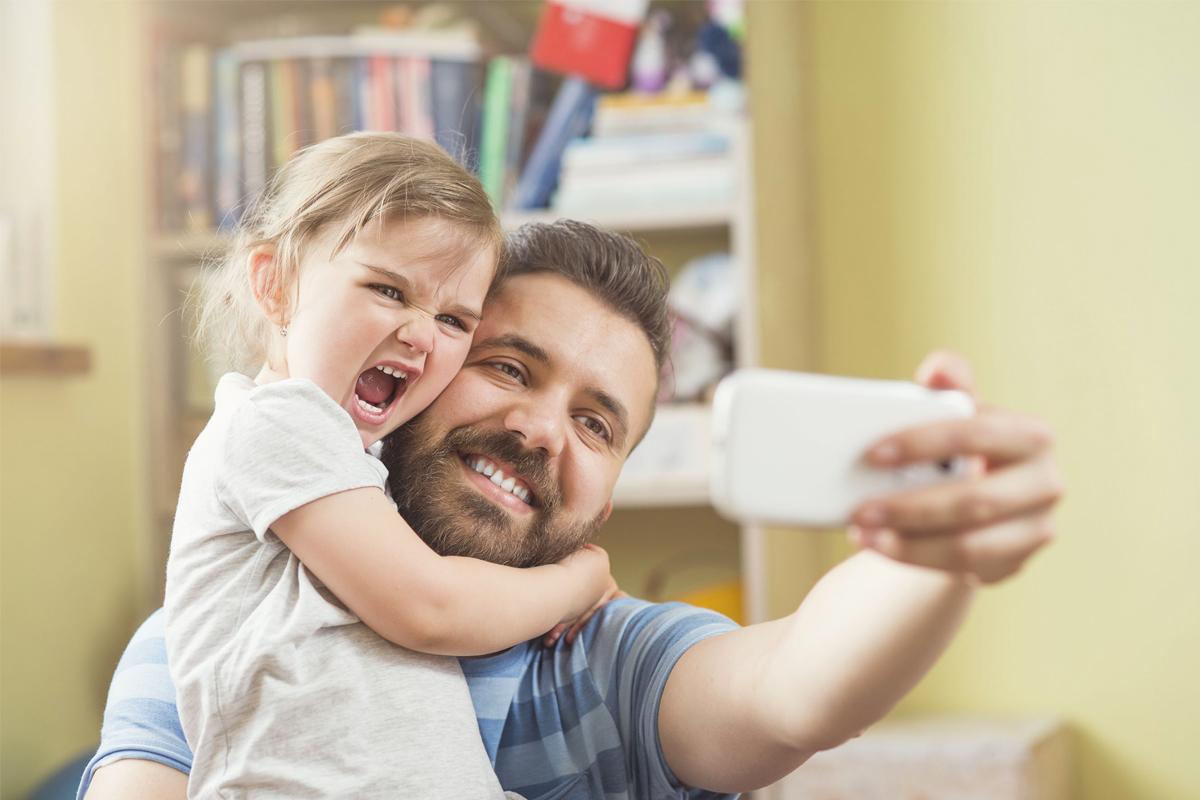 Vader met kinderen